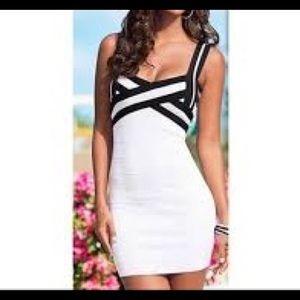 Venus White & Black color block bandage dress